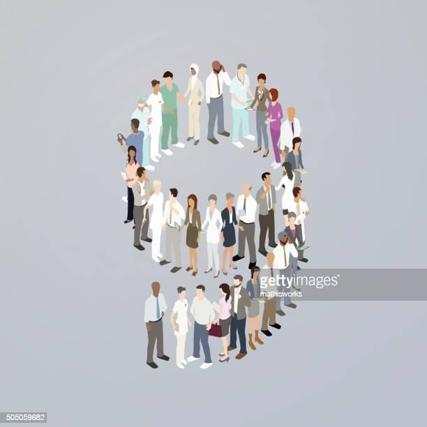 ilustrações de stock, clip art, desenhos animados e ícones de médicos que formam o número de nove - mathisworks