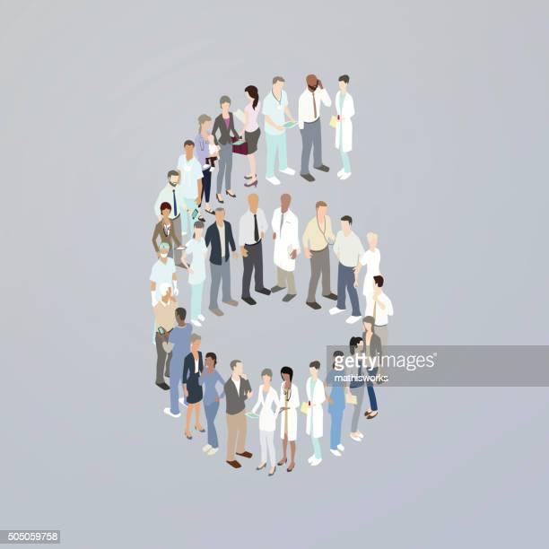 ilustrações de stock, clip art, desenhos animados e ícones de médicos que formam o número 6 - mathisworks