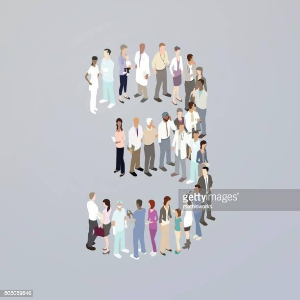 ilustrações de stock, clip art, desenhos animados e ícones de médicos que formam o número três - mathisworks