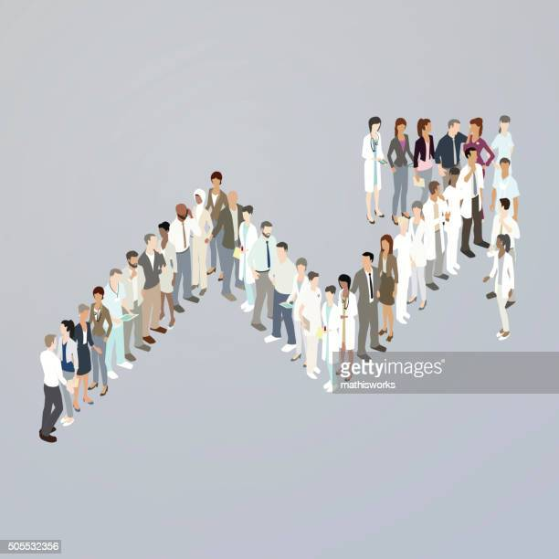 doctors forming upward trend arrow - mathisworks stock illustrations