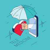 Doctor's hand is holding an umbrella and protect a heart.