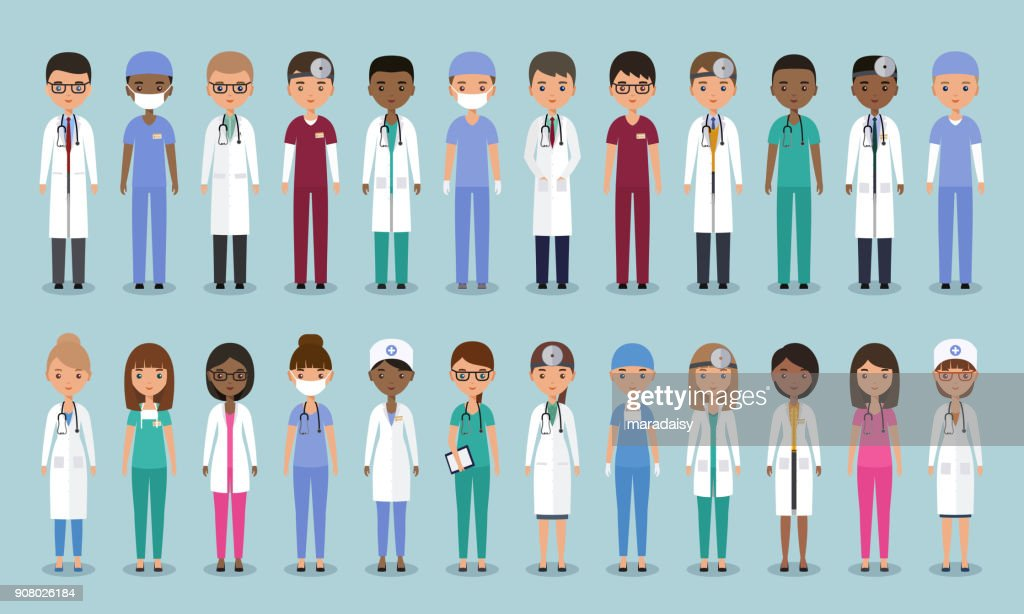 Doctors in flat design. Animated medical characters. Vector illustration.