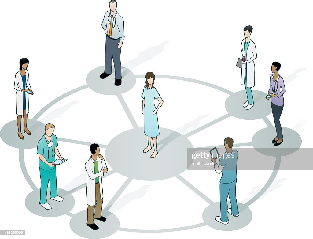 Doctors on wheel network with patient at center