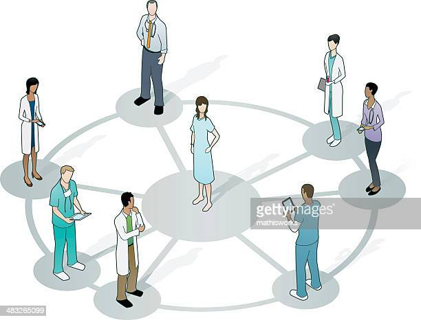 doctors on wheel network with patient at center - operating gown stock illustrations, clip art, cartoons, & icons