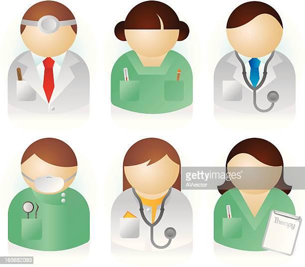 ilustraciones, imágenes clip art, dibujos animados e iconos de stock de los médicos - enfermera