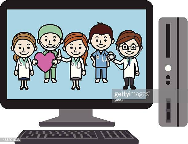 pc doctors - operating gown stock illustrations, clip art, cartoons, & icons