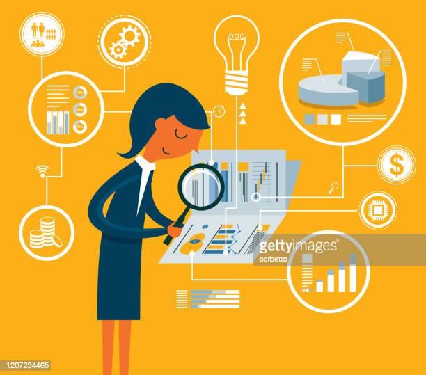 document analysis  - businesswoman - accountancy stock illustrations