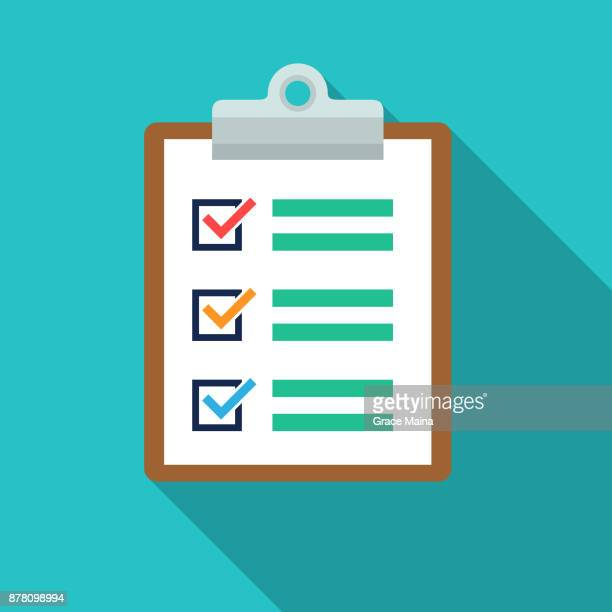 document and clipboard list icon - vector - list stock illustrations, clip art, cartoons, & icons