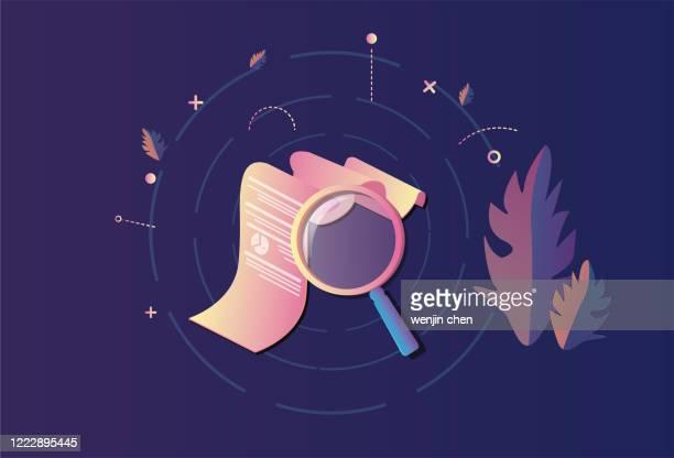 ilustraciones, imágenes clip art, dibujos animados e iconos de stock de documento y lupa, búsqueda de documentos, búsqueda de información - informe financiero