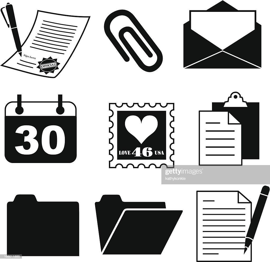 Documento e material de escritório e ícones : Ilustração
