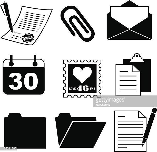 document and office supply icons - legal document stock illustrations, clip art, cartoons, & icons