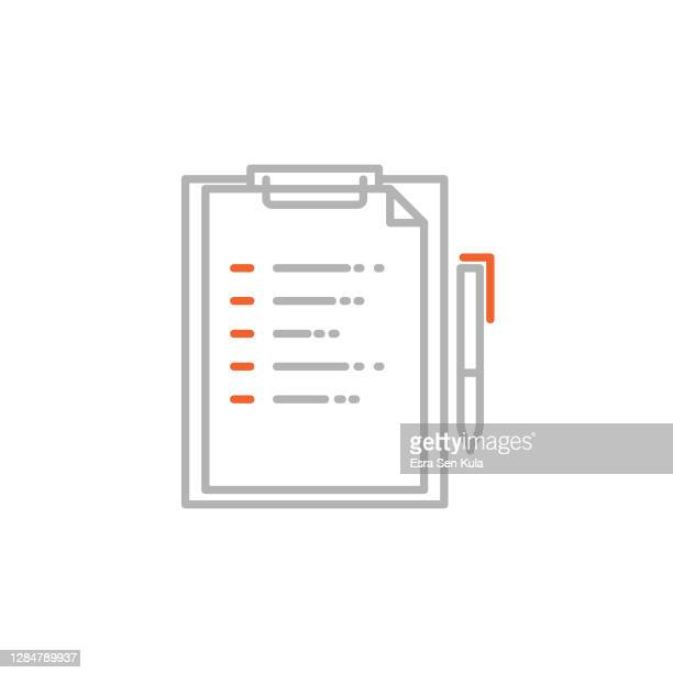 document and pen icon with editable stroke - two tone color stock illustrations