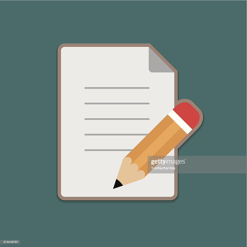 Document and Pencil Vector Icon