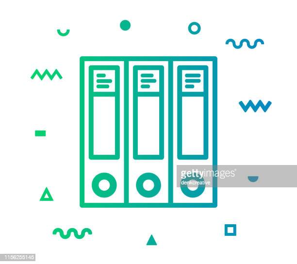 document archive line style icon design - fileira stock illustrations