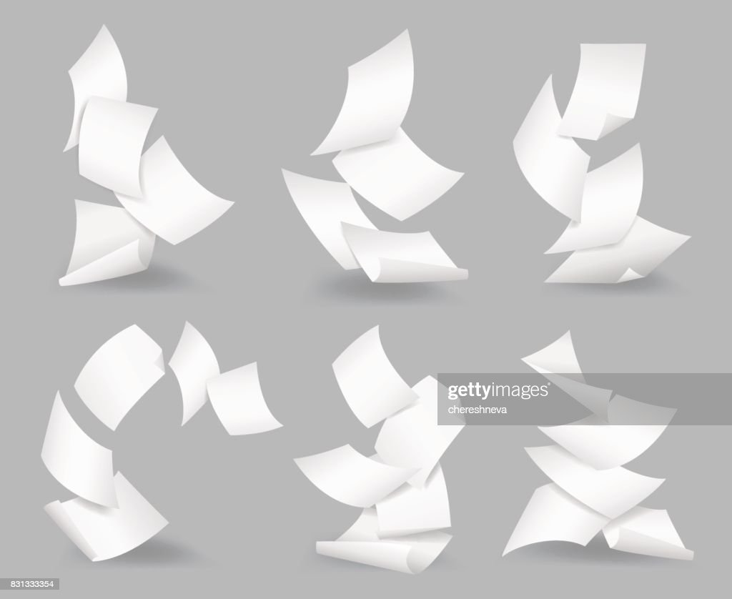 Document blank business, white page, design bureaucracy, object fly, vector illustration. Flying paper sheets.