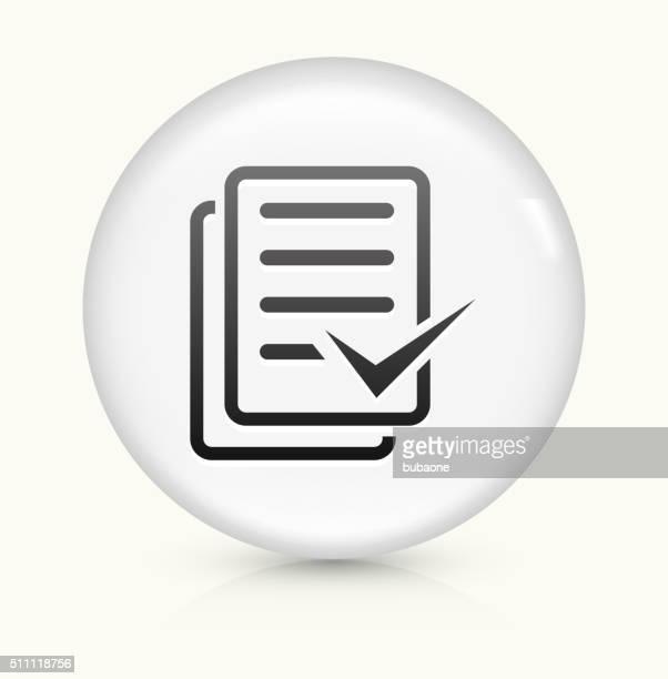 Document Check Mark icon on white round vector button