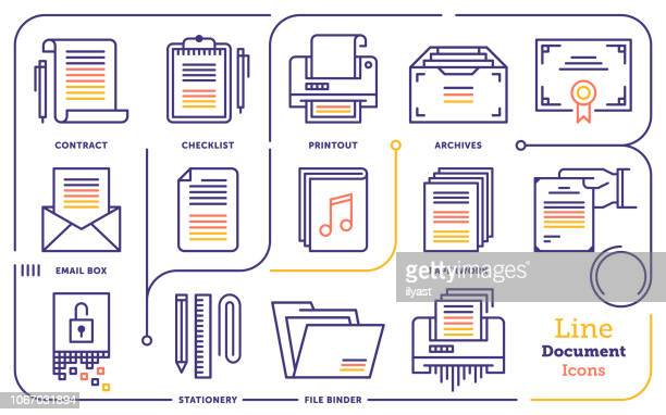 document file line icon set - paperwork stock illustrations