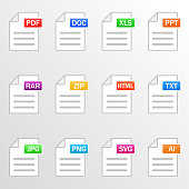 Document files. Icon set. File formats - pdf, doc, xls, ppt, rar, zip, html, txt, jpg, png, svg, ai. Vector