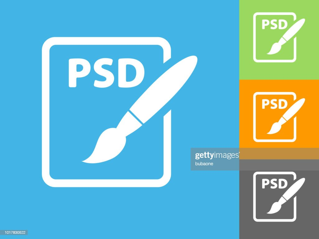 PSD Document Flat Icon on Blue Background