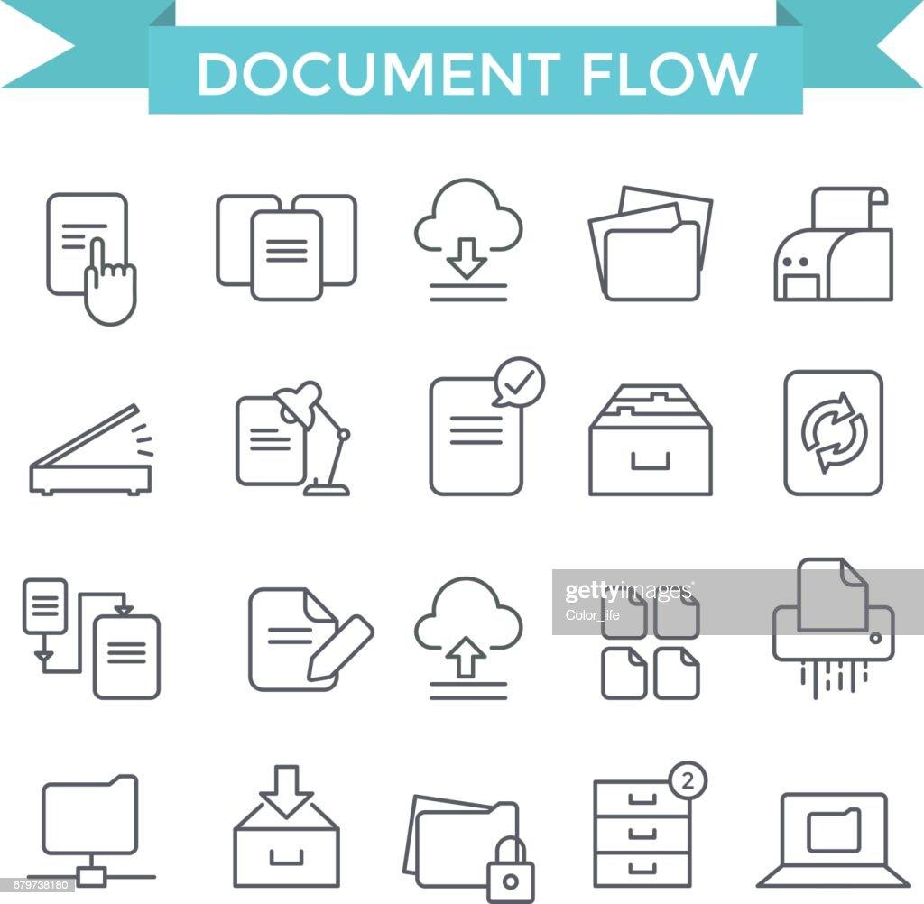 Document flow icons.