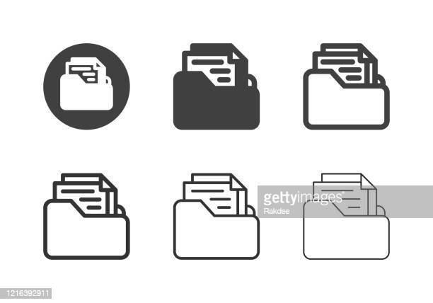 document folder icons - multi series - paperboard stock illustrations