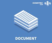 Document icon, illustration, vector symbol in flat isometric 3D style isolated on color background.