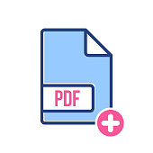 PDF document icon, pdf extension, file format icon with add sign. PDF document icon and new, plus, positive symbol