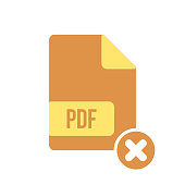 PDF document icon, pdf extension, file format icon with cancel sign. PDF document icon and close, delete, remove symbol