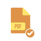 PDF document icon, pdf extension, file format icon with check sign. PDF document icon and approved, confirm, done, tick, completed symbol