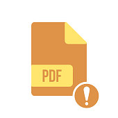 PDF document icon, pdf extension, file format icon with exclamation mark. PDF document icon and alert, error, alarm, danger symbol