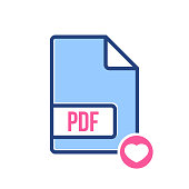 PDF document icon, pdf extension, file format icon with heart sign. PDF document icon and favorite, like, love, care symbol