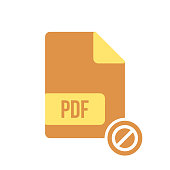 PDF document icon, pdf extension, file format icon with not allowed sign. PDF document icon and block, forbidden, prohibit symbol
