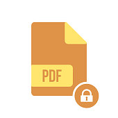 PDF document icon, pdf extension, file format icon with padlock sign. PDF document icon and security, protection, privacy symbol
