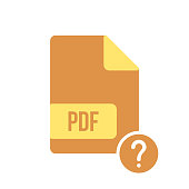 PDF document icon, pdf extension, file format icon with question mark. PDF document icon and help, how to, info, query symbol