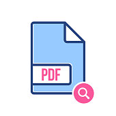 PDF document icon, pdf extension, file format icon with research sign. PDF document icon and explore, find, inspect symbol
