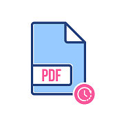 PDF document icon, pdf extension, file format icon with time sign. PDF document icon and countdown, deadline, schedule, planning symbol