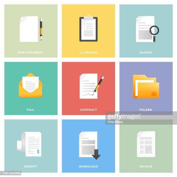 document icon set - legal document stock illustrations, clip art, cartoons, & icons