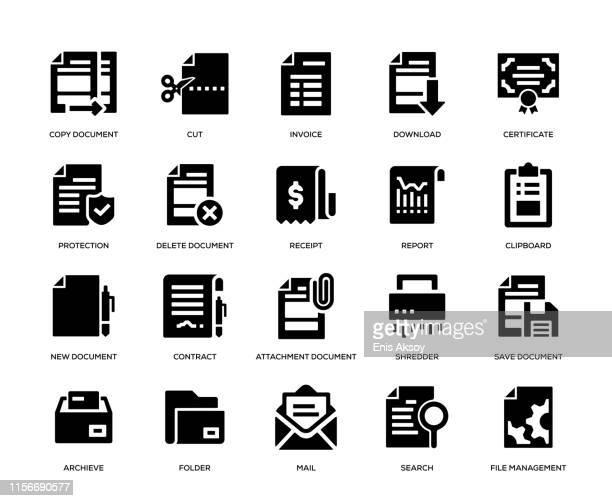 document icon set - photocopier stock illustrations, clip art, cartoons, & icons