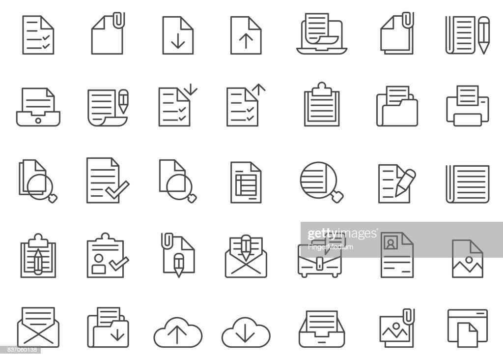 Documento Conjunto de ícones : Ilustração