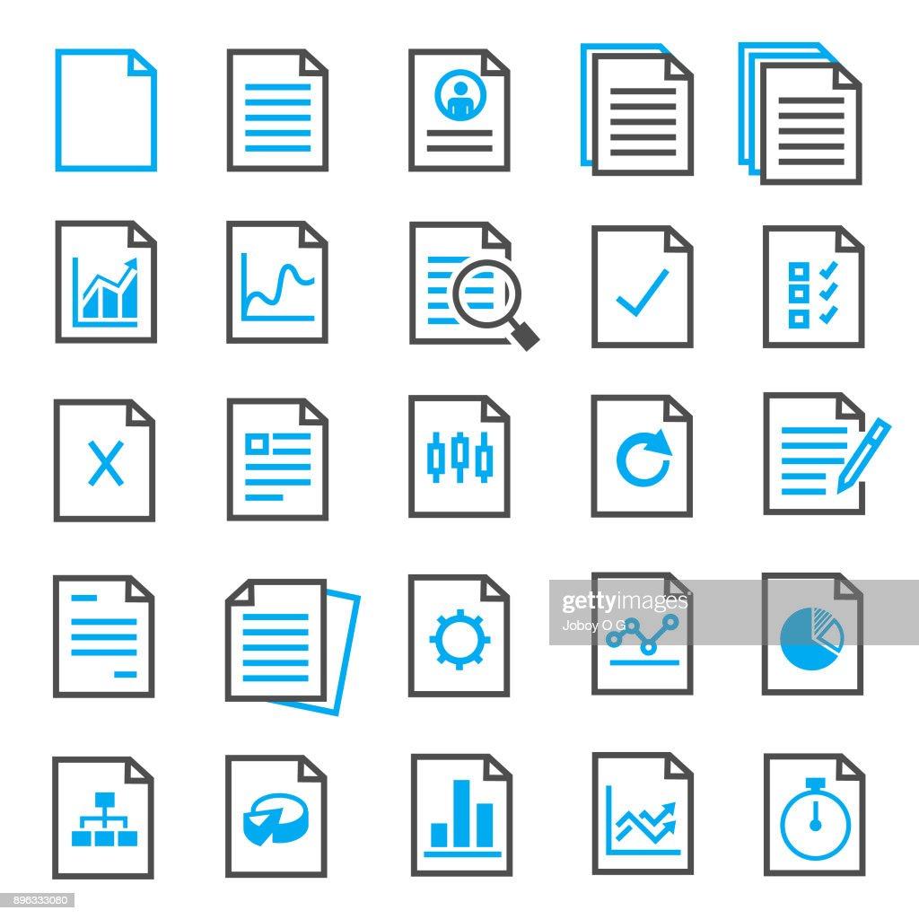 Conjunto de ícones de documento : Ilustração