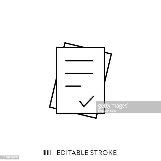 stockillustraties, clipart, cartoons en iconen met document pictogram met bewerkbare lijn en pixel perfect. - enkel object