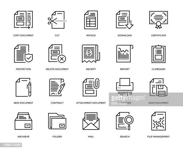 document icons icon set - paperwork stock illustrations
