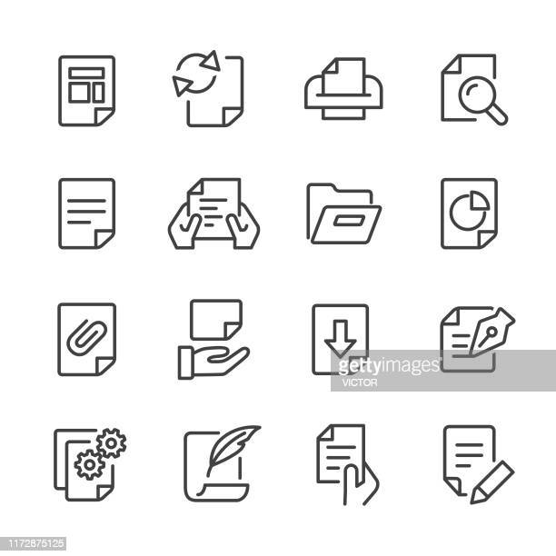 document icons - line series - human hand stock illustrations