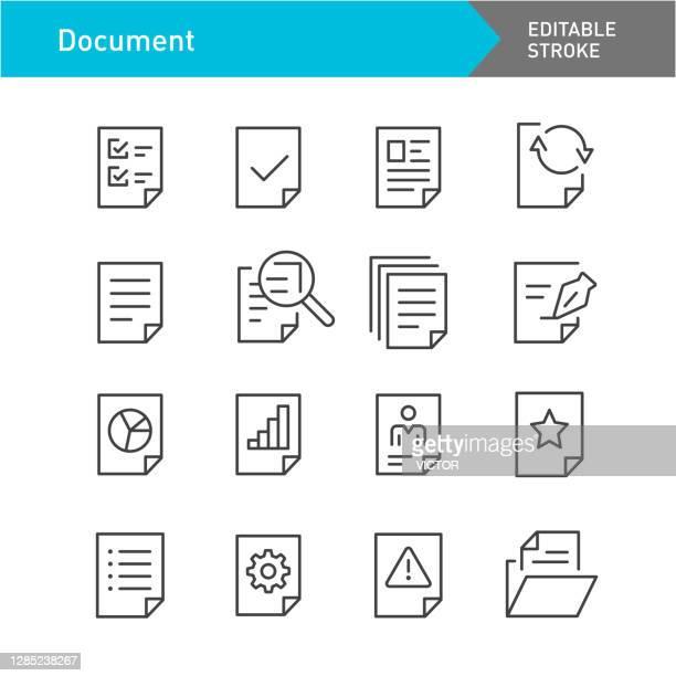 illustrazioni stock, clip art, cartoni animati e icone di tendenza di set di icone del documento - serie di linee - tratto modificabile - rapporto finanziario