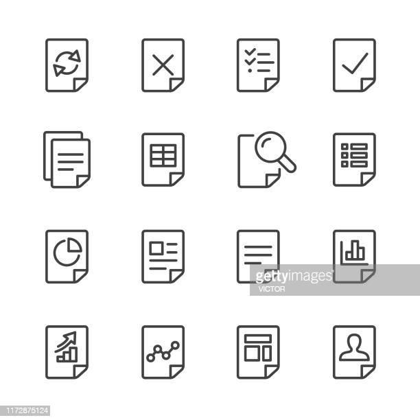 ドキュメント アイコン セット - ライン 系列 - リング式ファイル点のイラスト素材/クリップアート素材/マンガ素材/アイコン素材