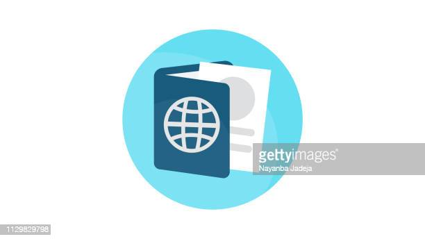 document id passport icon - emigration and immigration stock illustrations