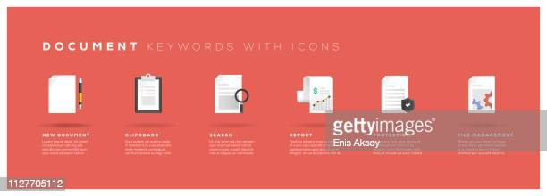 document keywords with icons - document stock illustrations
