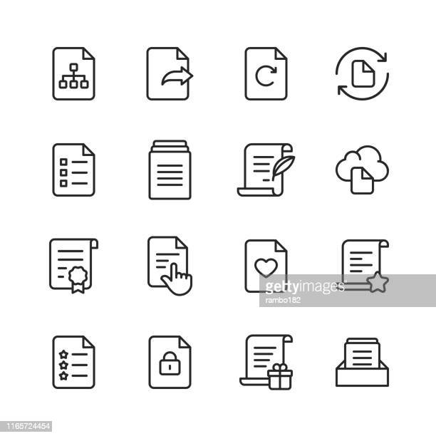 document line icons. editable stroke. pixel perfect. for mobile and web. contains such icons as document, file, communication, resume, file search. - exercise book stock illustrations