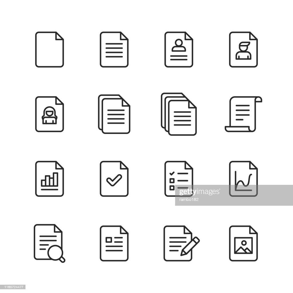 ドキュメント行アイコン。編集可能なストローク。ピクセルパーフェクト。モバイルとウェブ用。ドキュメント、ファイル、通信、再開、ファイル検索などのアイコンが含まれています。 : ストックイラストレーション