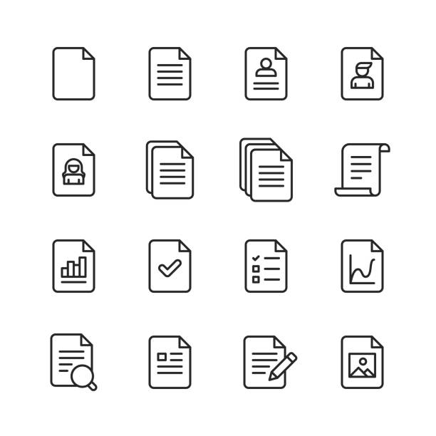 document line icons. editable stroke. pixel perfect. for mobile and web. contains such icons as document, file, communication, resume, file search. - vector stock illustrations